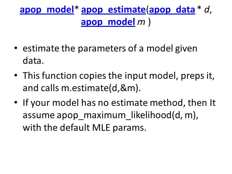 apop_modelapop_model* apop_estimate(apop_data * d, apop_model m )apop_estimateapop_data apop_model estimate the parameters of a model given data. This