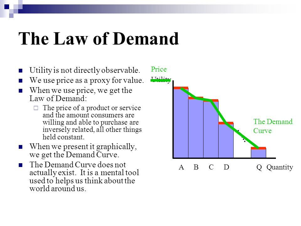 The Law of Demand Utility is not directly observable. We use price as a proxy for value. When we use price, we get the Law of Demand: The price of a p