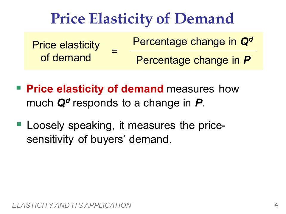 ELASTICITY AND ITS APPLICATION 44 S Perfectly elastic (the other extreme) P Q P1P1 Q1Q1 P changes by 0% Q changes by any % any % 0% = infinity Price elasticity of supply = % change in Q % change in P = Q2Q2 P 2 = Sellers price sensitivity: S curve: Elasticity: horizontal extreme infinity