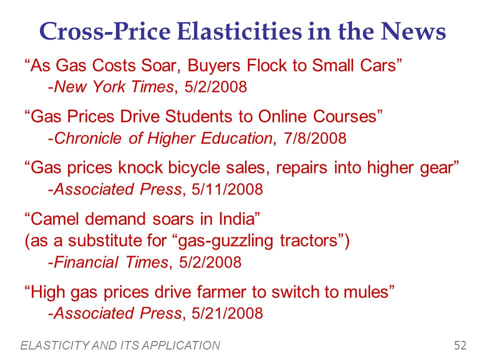 ELASTICITY AND ITS APPLICATION 51 Other Elasticities Cross-price elasticity of demand: measures the response of demand for one good to changes in the