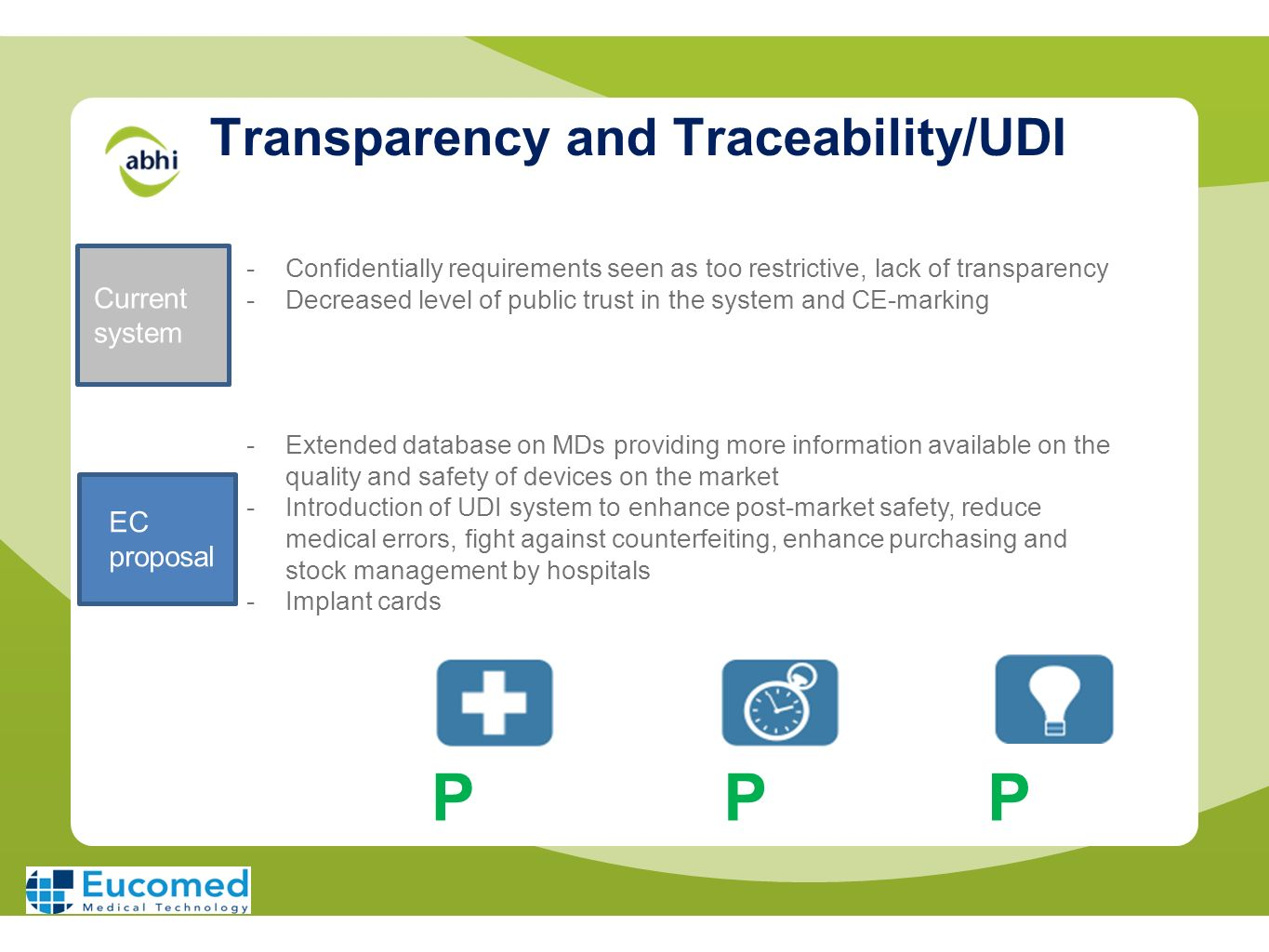Transparency and Traceability/UDI -Confidentially requirements seen as too restrictive, lack of transparency -Decreased level of public trust in the s