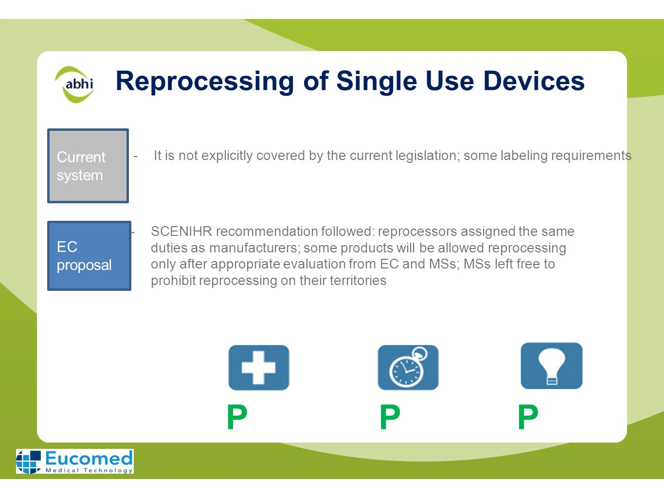 Reprocessing of Single Use Devices Current system EC proposal -SCENIHR recommendation followed: reprocessors assigned the same duties as manufacturers