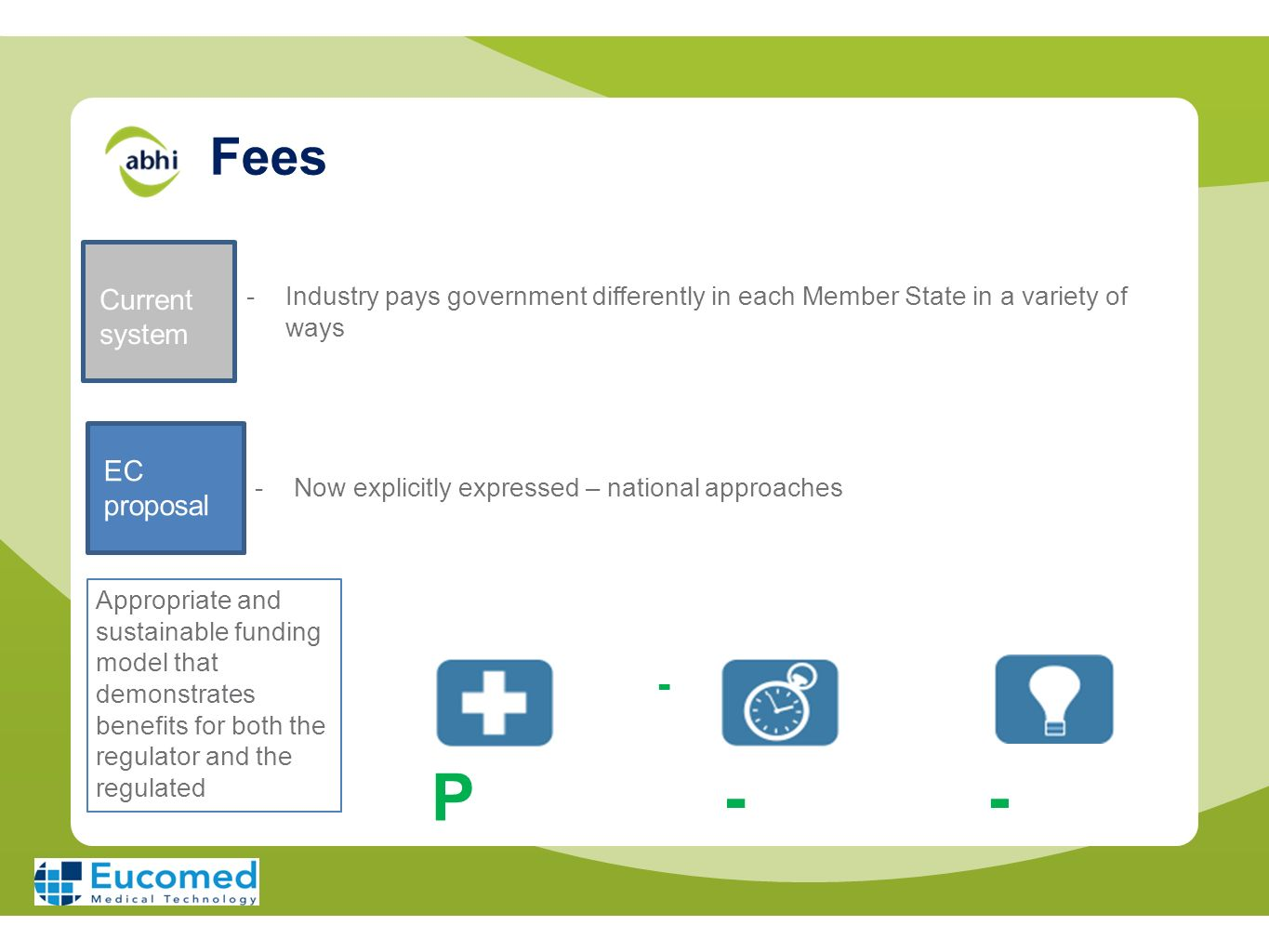 Fees Current system -Industry pays government differently in each Member State in a variety of ways EC proposal -Now explicitly expressed – national a