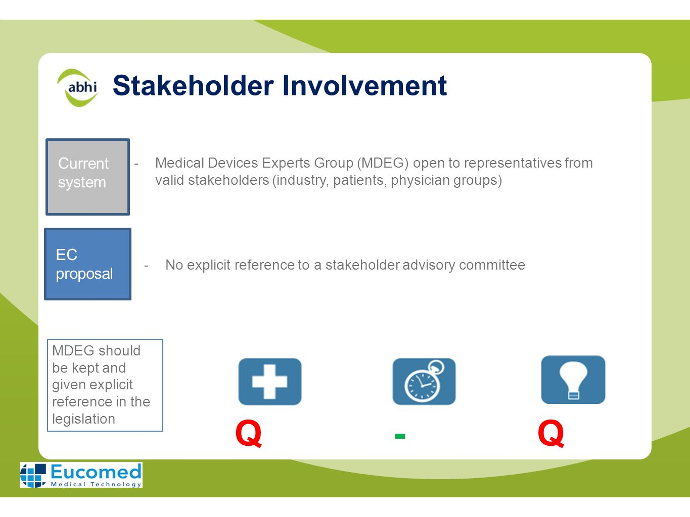 Stakeholder Involvement Current system -Medical Devices Experts Group (MDEG) open to representatives from valid stakeholders (industry, patients, phys