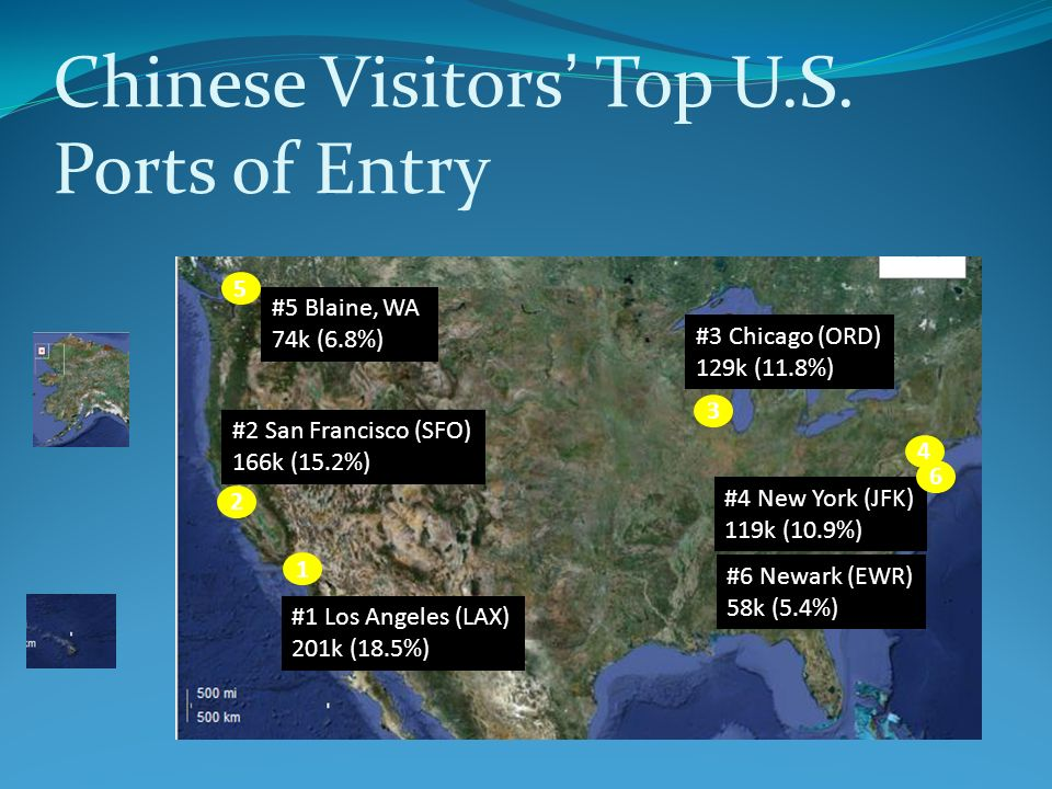 Chinese Visitors Top U.S. Ports of Entry #1 Los Angeles (LAX) 201k (18.5%) 1 2 #2 San Francisco (SFO) 166k (15.2%) 3 #3 Chicago (ORD) 129k (11.8%) 4 #