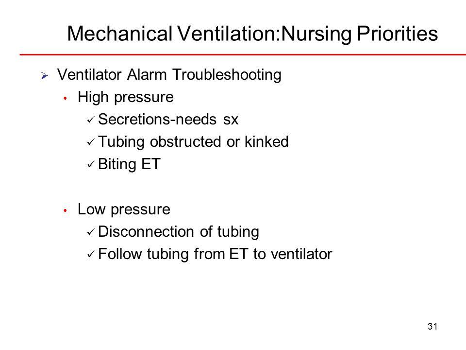 Mechanical Ventilation:Nursing Priorities 31 Ventilator Alarm Troubleshooting High pressure Secretions-needs sx Tubing obstructed or kinked Biting ET