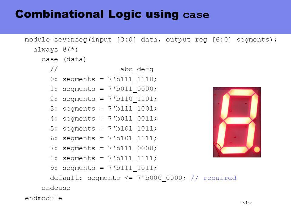 - Combinational Logic using case module sevenseg(input [3:0] data, output reg [6:0] segments); always @(*) case (data) // _abc_defg 0: segments = 7'b1