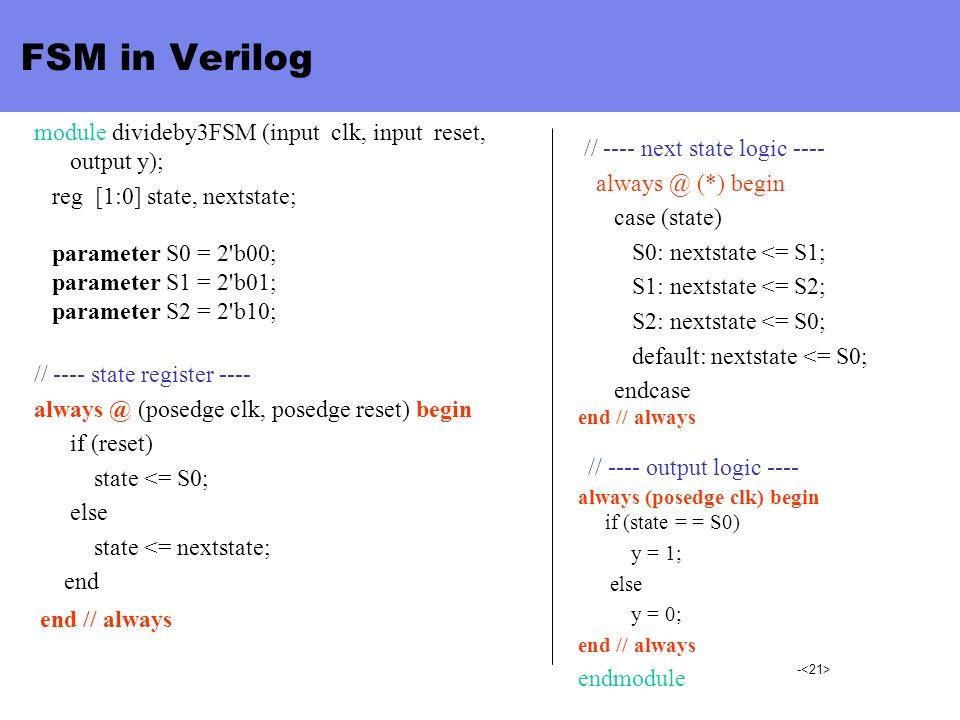 - FSM in Verilog module divideby3FSM (input clk, input reset, output y); reg [1:0] state, nextstate; parameter S0 = 2'b00; parameter S1 = 2'b01; param