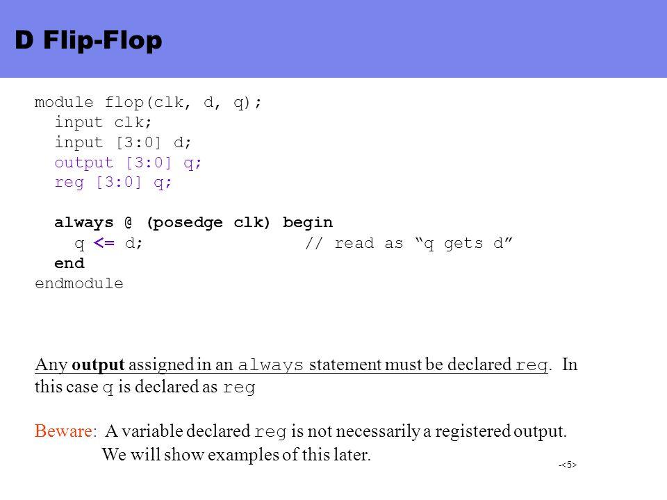 - D Flip-Flop module flop(clk, d, q); input clk; input [3:0] d; output [3:0] q; reg [3:0] q; always @ (posedge clk) begin q <= d; // read as q gets d