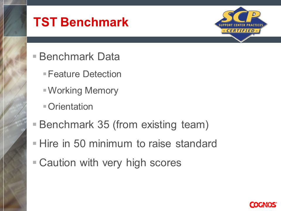 Benchmark Data Feature Detection Working Memory Orientation Benchmark 35 (from existing team) Hire in 50 minimum to raise standard Caution with very h