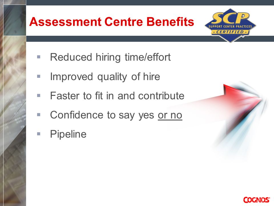 Assessment Centre Benefits Reduced hiring time/effort Improved quality of hire Faster to fit in and contribute Confidence to say yes or no Pipeline