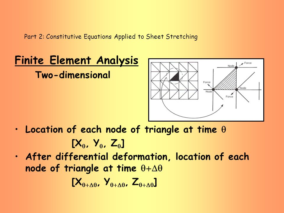 Part 2: Constitutive Equations Applied to Sheet Stretching Finite Element Analysis Two-dimensional Location of each node of triangle at time [X, Y, Z