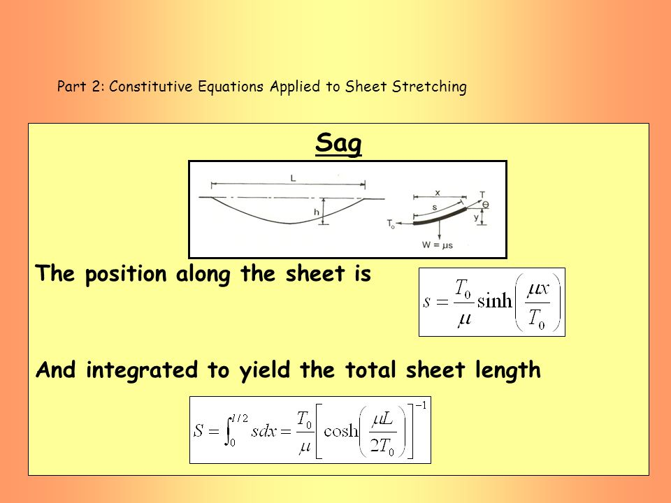 Part 2: Constitutive Equations Applied to Sheet Stretching Sag The position along the sheet is And integrated to yield the total sheet length