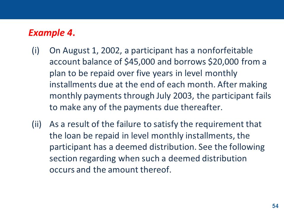 54 Example 4. (i)On August 1, 2002, a participant has a nonforfeitable account balance of $45,000 and borrows $20,000 from a plan to be repaid over fi