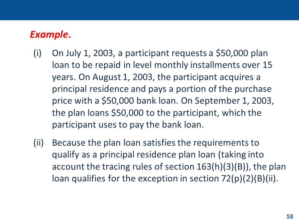 58 Example. (i)On July 1, 2003, a participant requests a $50,000 plan loan to be repaid in level monthly installments over 15 years. On August 1, 2003