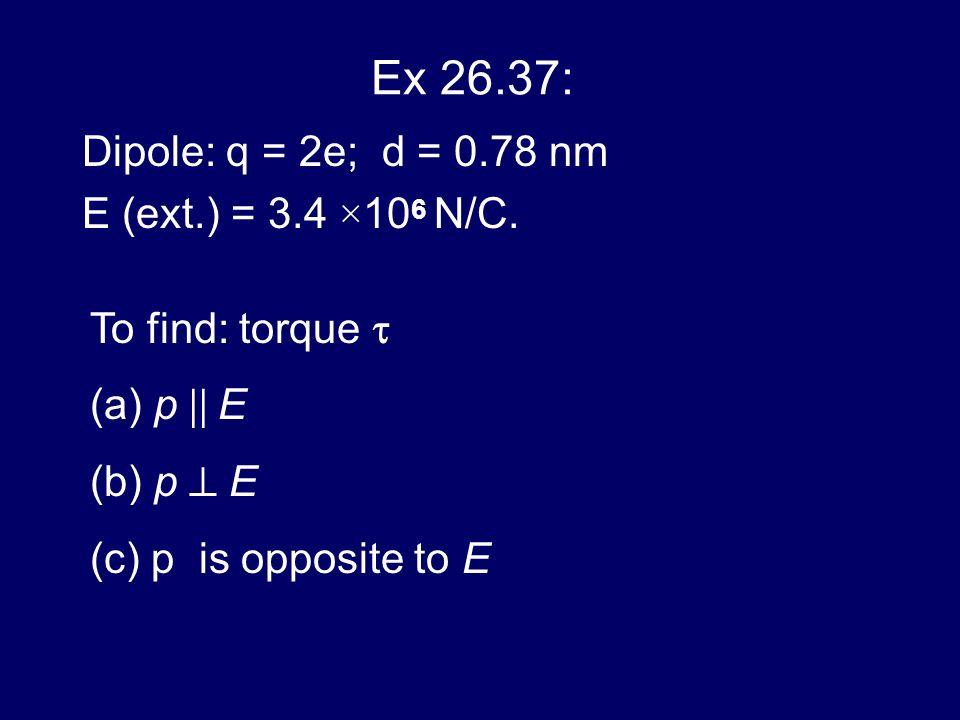 Ex 26.37: Dipole: q = 2e; d = 0.78 nm E (ext.) = 3.4 ×10 6 N/C. To find: torque (a) p E (b) p E (c) p is opposite to E