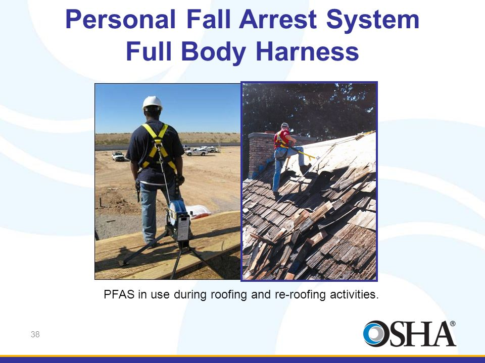 38 Personal Fall Arrest System Full Body Harness PFAS in use during roofing and re-roofing activities.