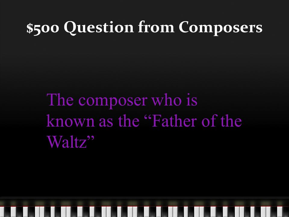 $400 Answer from Composers Who is George F. Handel