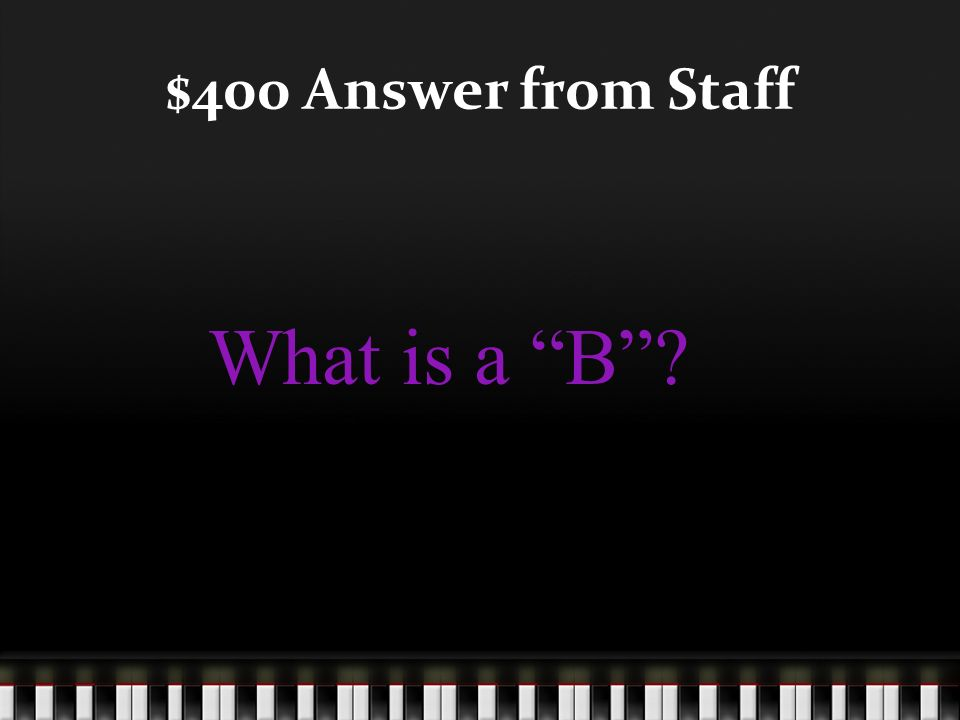$400 Question from Staff This note is on the 2 line of the bass clef staff