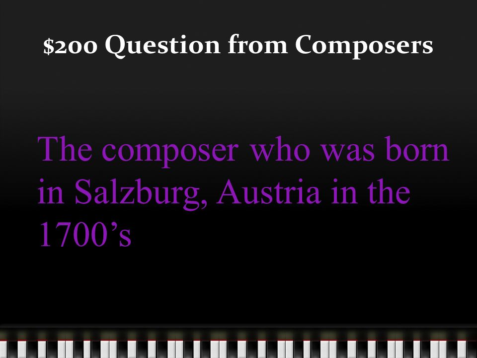 $100 Answer from Composers Who is Beethoven?