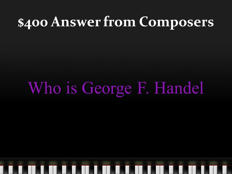 $400 Question from Composers This composer is most famous for his work Messiah