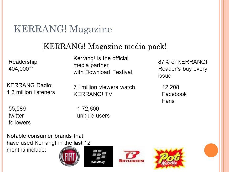 KERRANG. Magazine KERRANG. Magazine media pack. Readership 404,000** 87% of KERRANG.