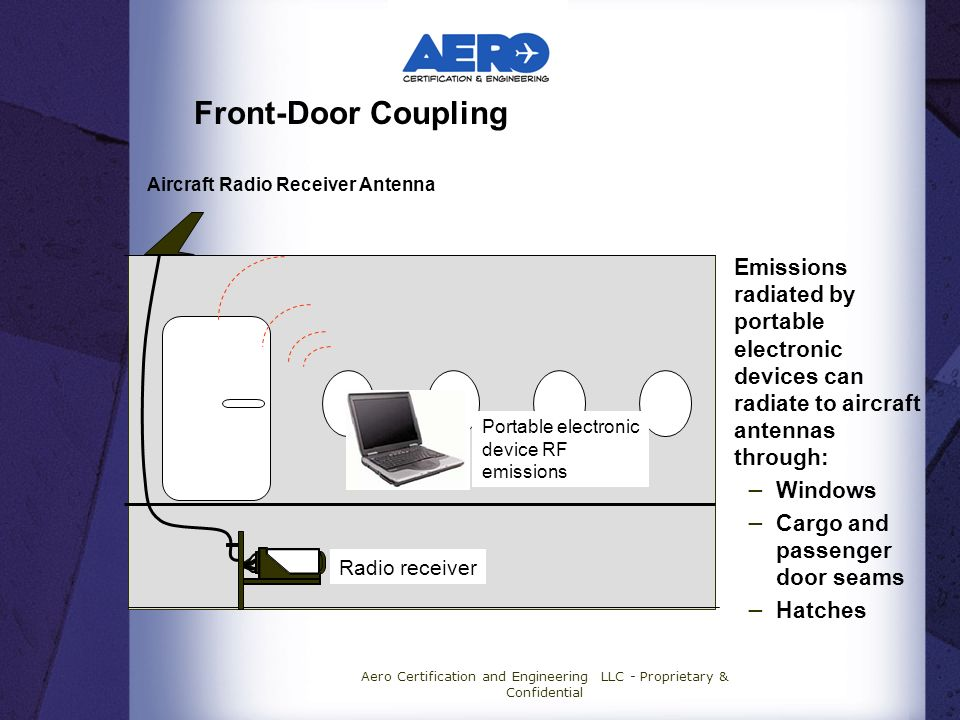 Aero Certification and Engineering LLC - Proprietary & Confidential Front-Door Coupling Emissions radiated by portable electronic devices can radiate to aircraft antennas through: Windows Cargo and passenger door seams Hatches Aircraft Radio Receiver Antenna Portable electronic device RF emissions Radio receiver