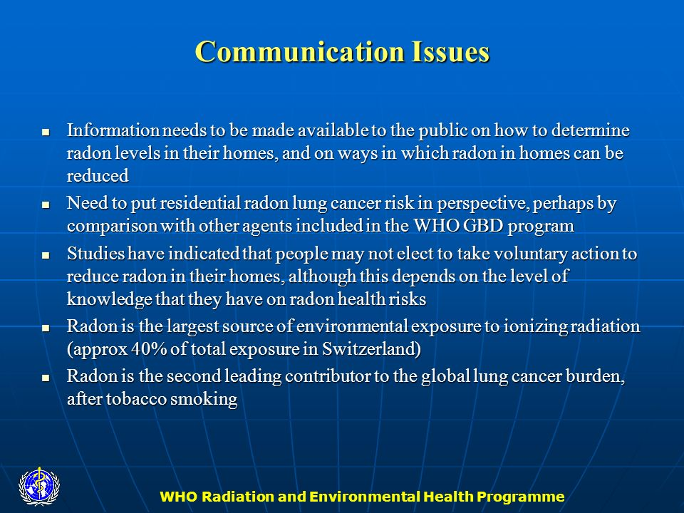 WHO Radiation and Environmental Health Programme Communication Issues Information needs to be made available to the public on how to determine radon l