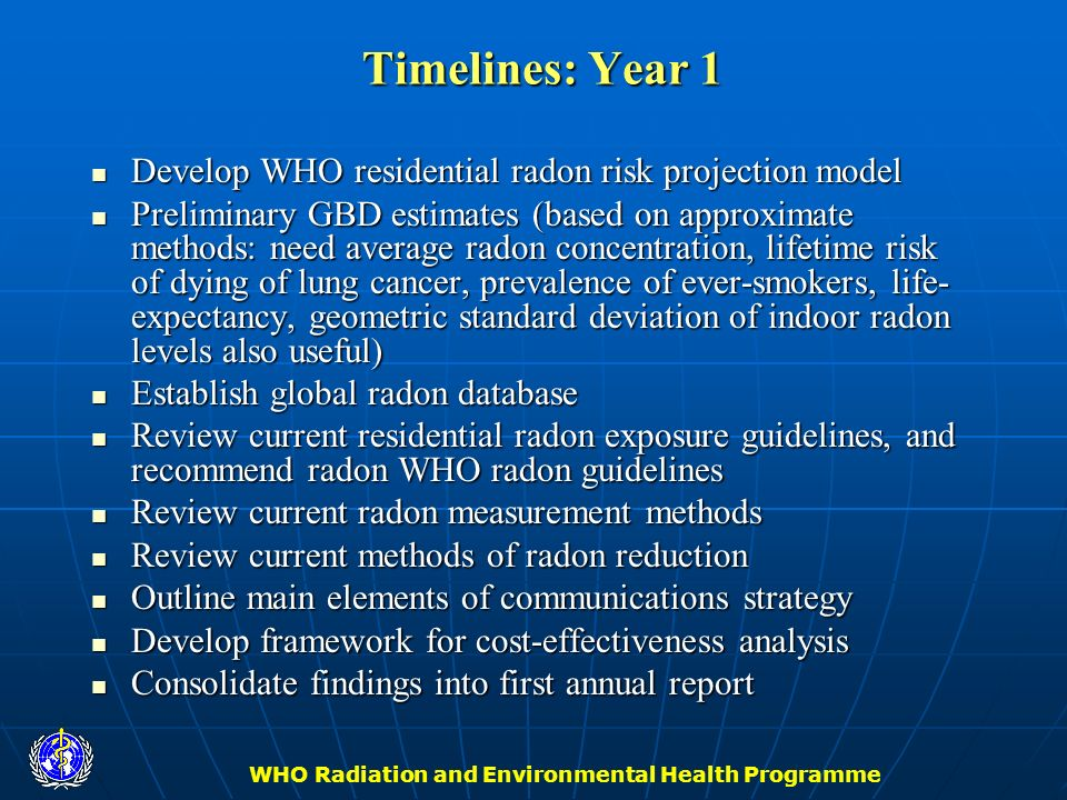 WHO Radiation and Environmental Health Programme Timelines: Year 1 Develop WHO residential radon risk projection model Develop WHO residential radon r