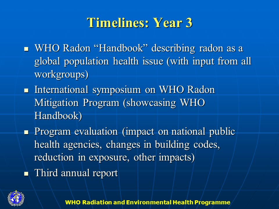 WHO Radiation and Environmental Health Programme Timelines: Year 3 WHO Radon Handbook describing radon as a global population health issue (with input