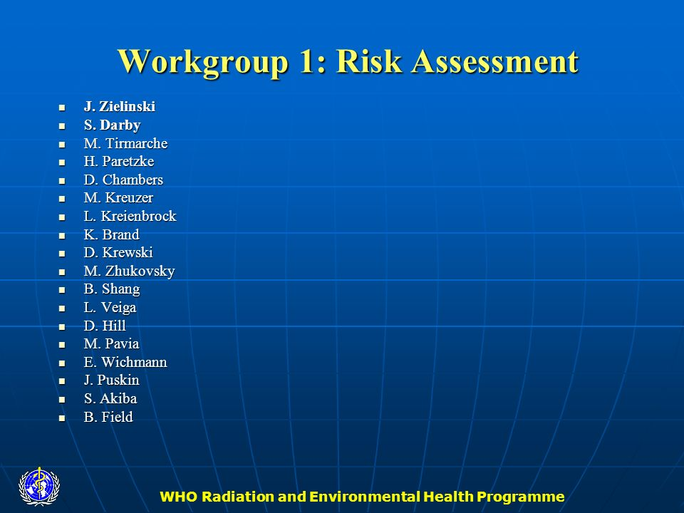 WHO Radiation and Environmental Health Programme Workgroup 1: Risk Assessment J. Zielinski J. Zielinski S. Darby S. Darby M. Tirmarche M. Tirmarche H.