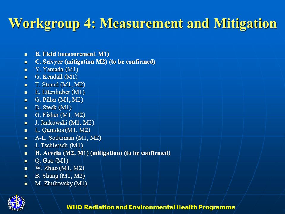 WHO Radiation and Environmental Health Programme Workgroup 4: Measurement and Mitigation B. Field (measurement M1) B. Field (measurement M1) C. Scivye