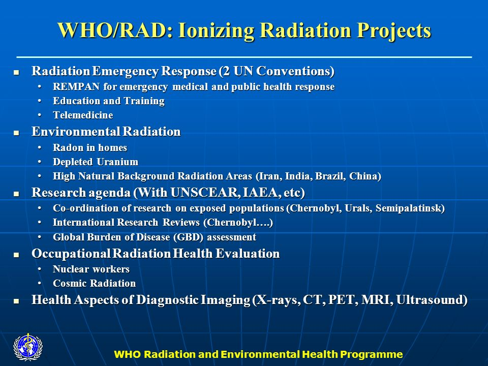 WHO Radiation and Environmental Health Programme Radiation Emergency Response (2 UN Conventions) Radiation Emergency Response (2 UN Conventions) REMPA