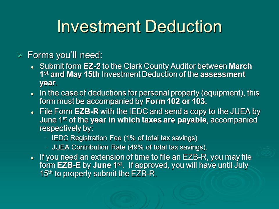 Investment Deduction Forms youll need: Forms youll need: Submit form EZ-2 to the Clark County Auditor between March 1 st and May 15th Investment Deduc