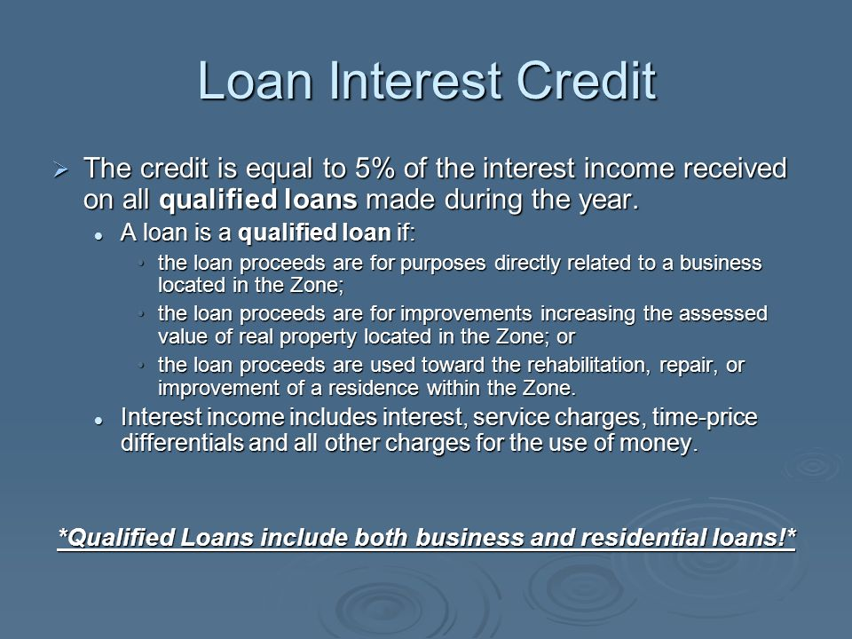 Loan Interest Credit The credit is equal to 5% of the interest income received on all qualified loans made during the year. The credit is equal to 5%