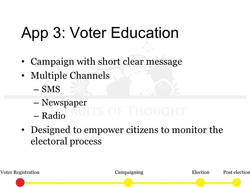 App 3: Voter Education Campaign with short clear message Multiple Channels – SMS – Newspaper – Radio Designed to empower citizens to monitor the electoral process
