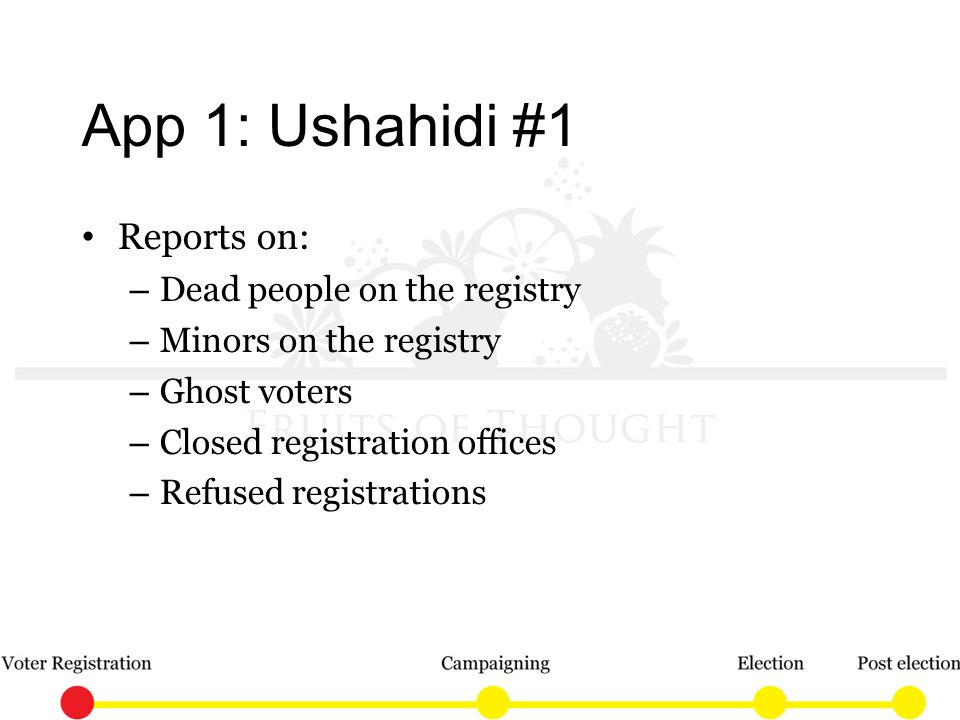 App 1: Ushahidi #1 Reports on: – Dead people on the registry – Minors on the registry – Ghost voters – Closed registration offices – Refused registrations