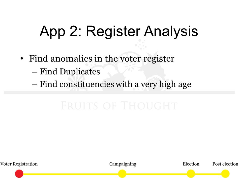 App 2: Register Analysis Find anomalies in the voter register – Find Duplicates – Find constituencies with a very high age