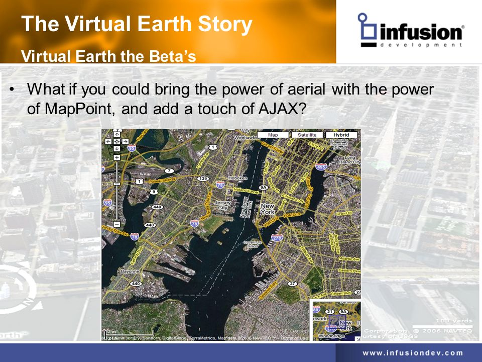 The Virtual Earth Story Virtual Earth the Betas What if you could bring the power of aerial with the power of MapPoint, and add a touch of AJAX