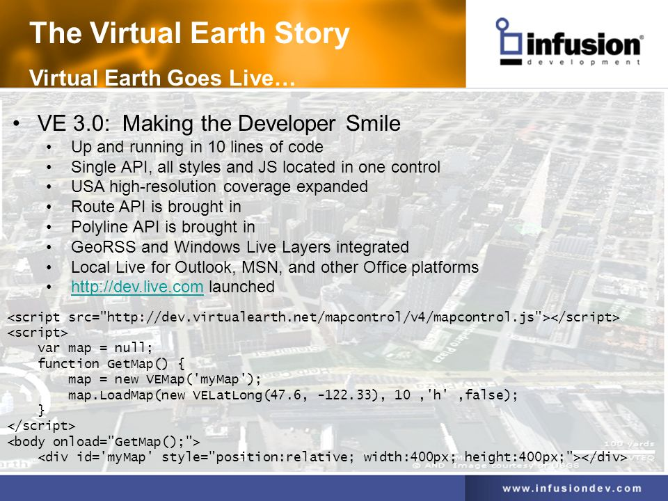 The Virtual Earth Story Virtual Earth Goes Live… VE 3.0: Making the Developer Smile Up and running in 10 lines of code Single API, all styles and JS located in one control USA high-resolution coverage expanded Route API is brought in Polyline API is brought in GeoRSS and Windows Live Layers integrated Local Live for Outlook, MSN, and other Office platforms http://dev.live.com launchedhttp://dev.live.com <script src= http://dev.virtualearth.net/mapcontrol/v4/mapcontrol.js ></script> <script> var map = null; function GetMap() { map = new VEMap( myMap ); map.LoadMap(new VELatLong(47.6, -122.33), 10, h ,false); } </script> <body onload= GetMap(); > <div id= myMap style= position:relative; width:400px; height:400px; ></div>
