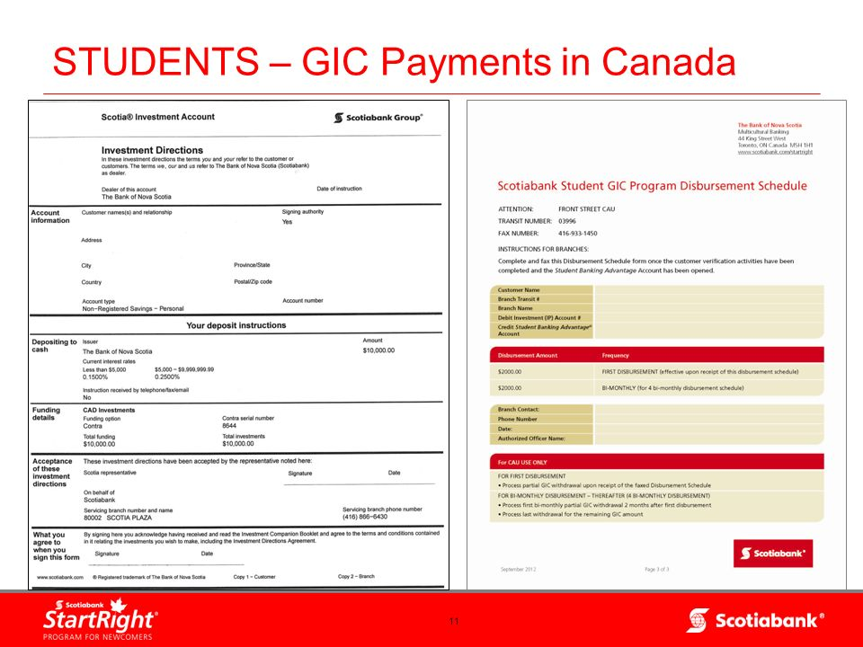 11 STUDENTS – GIC Payments in Canada