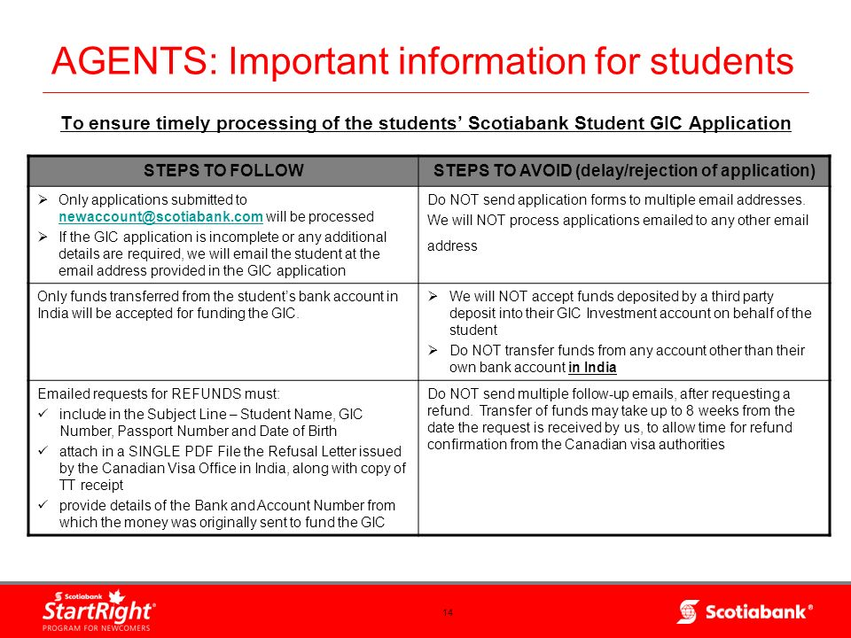 14 AGENTS: Important information for students To ensure timely processing of the students Scotiabank Student GIC Application STEPS TO FOLLOWSTEPS TO A