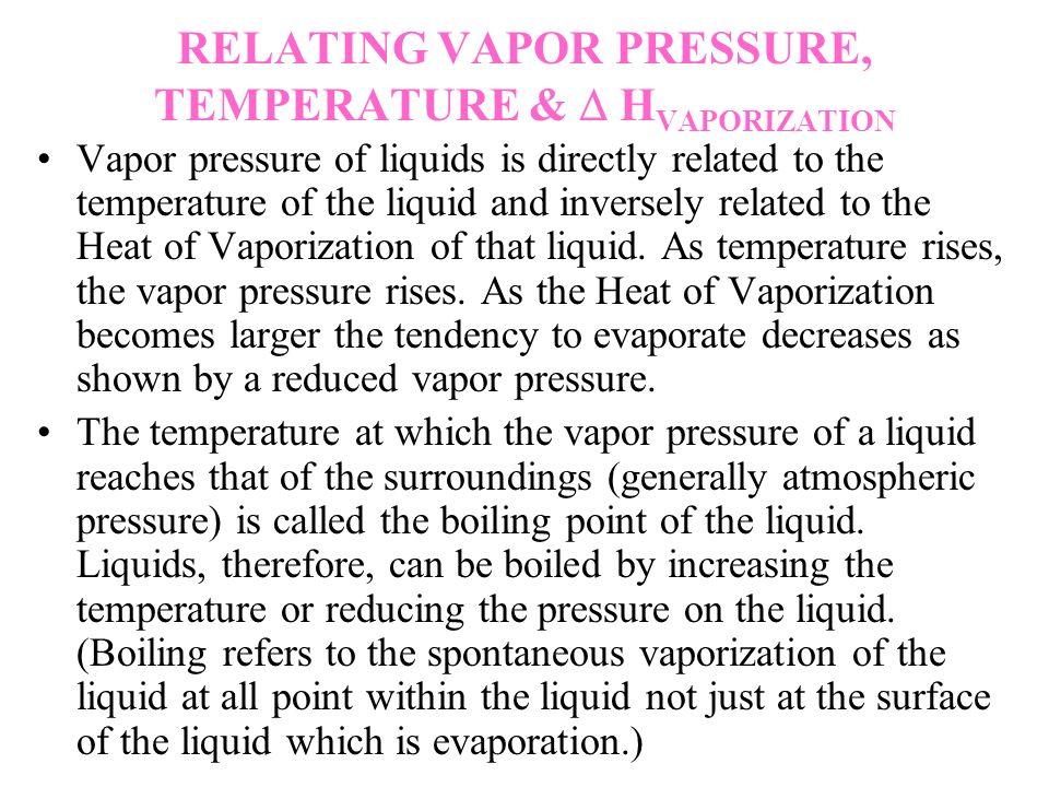 RELATING VAPOR PRESSURE, TEMPERATURE & H VAPORIZATION Vapor pressure of liquids is directly related to the temperature of the liquid and inversely rel
