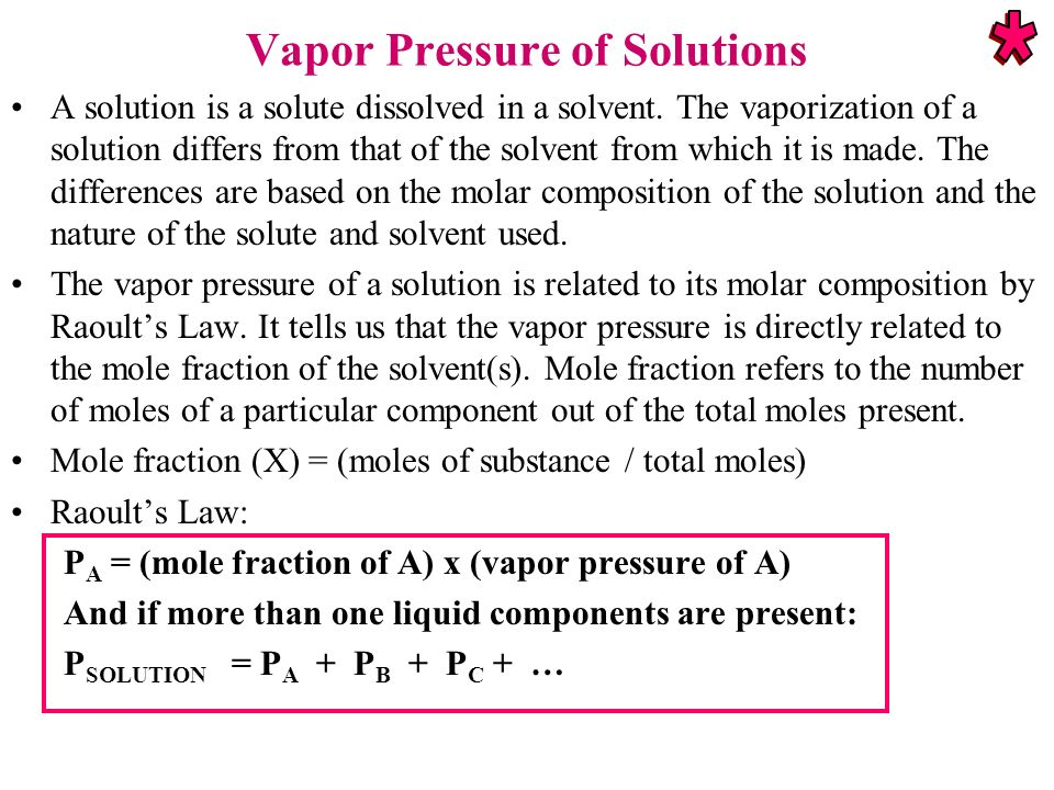 Vapor Pressure of Solutions A solution is a solute dissolved in a solvent. The vaporization of a solution differs from that of the solvent from which