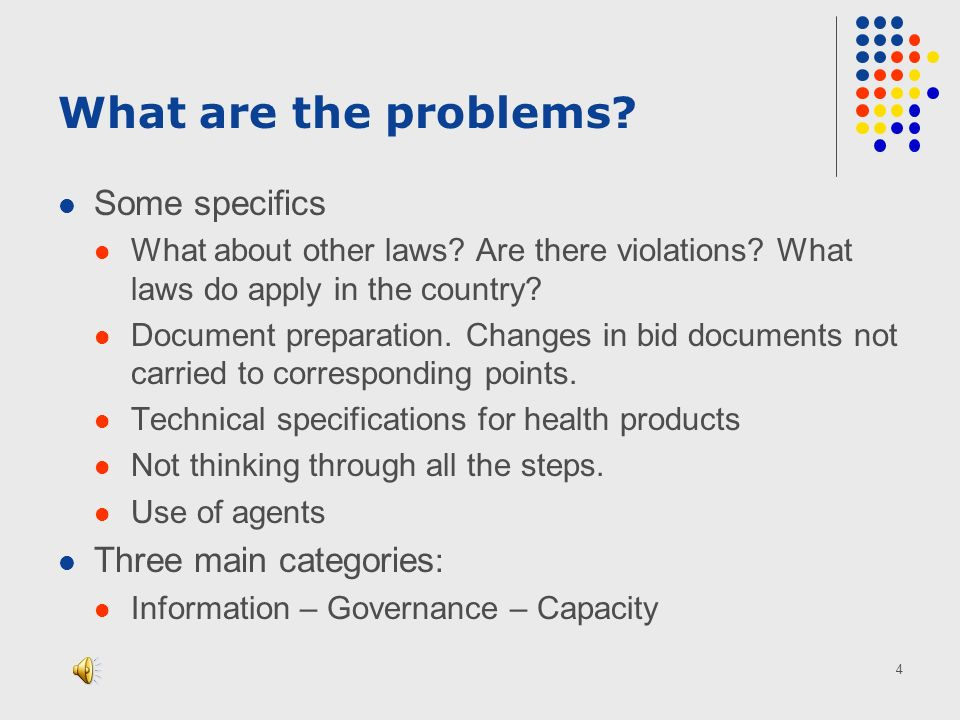 4 What are the problems. Some specifics What about other laws.