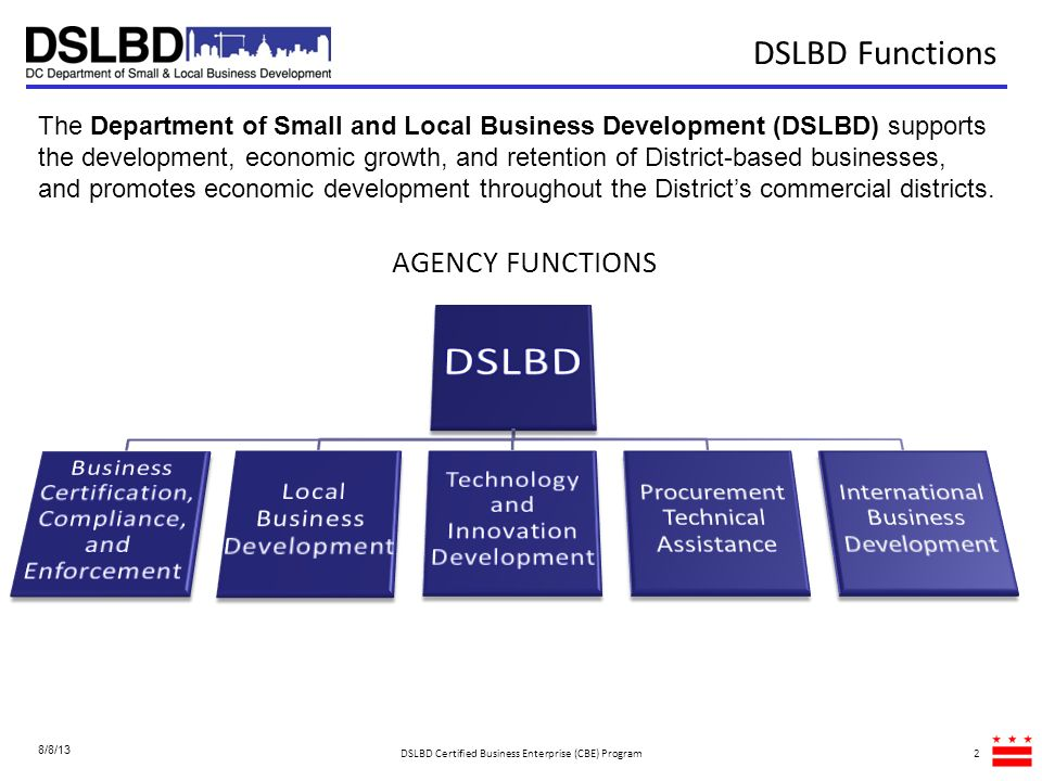 13 Business Assistance In April 2011, the first Small Business Resource Center (SBRC) was launched at the Department of Consumer and Regulatory Affairs to assist District-based small businesses with navigating the Districts regulatory environment.
