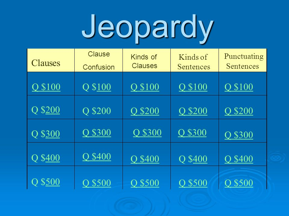 Jeopardy Clauses Kinds of Clauses Kinds of Sentences Punctuating Sentences Q $100 Q $200200 Q $300300 Q $400400 Q $500500 Q $100100Q $100 Q $200 Q $300 Q $400 400Q $400 Q $500 Clause Confusion
