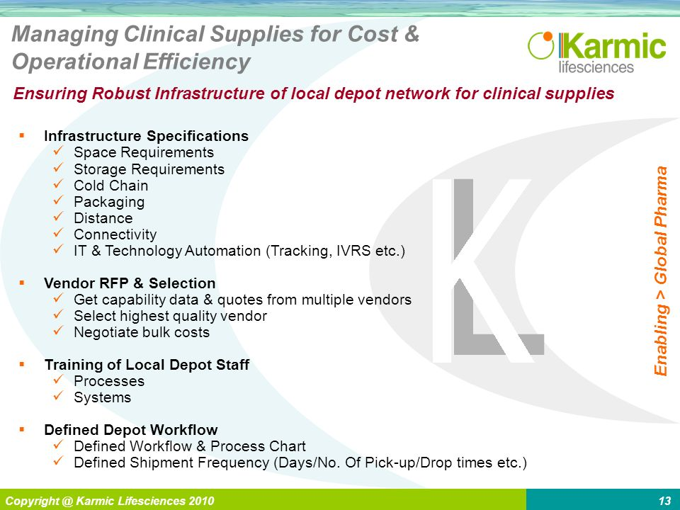 L Enabling > Global Pharma Copyright @ Karmic Lifesciences 201013 Managing Clinical Supplies for Cost & Operational Efficiency Ensuring Robust Infrast