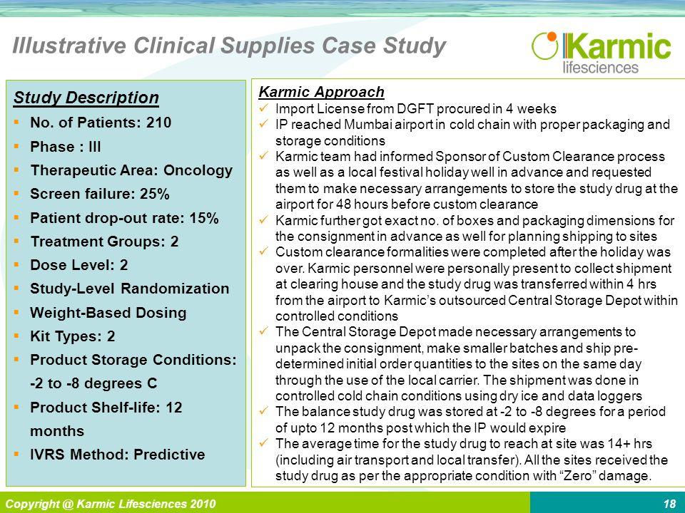L Enabling > Global Pharma Copyright @ Karmic Lifesciences 201018 Illustrative Clinical Supplies Case Study Study Description No. of Patients: 210 Pha