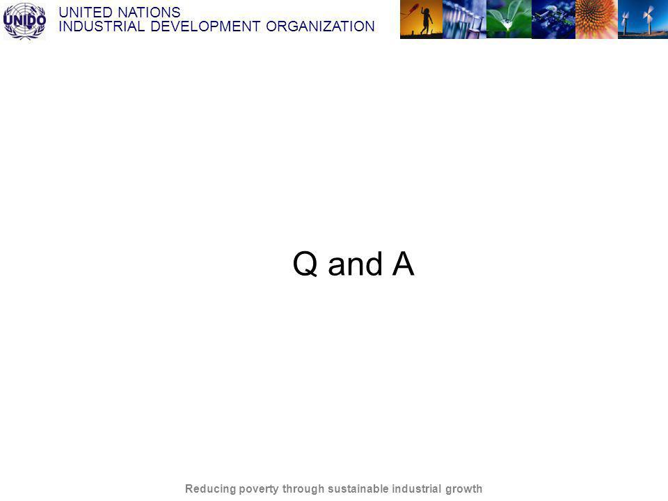 UNITED NATIONS INDUSTRIAL DEVELOPMENT ORGANIZATION Reducing poverty through sustainable industrial growth Q and A